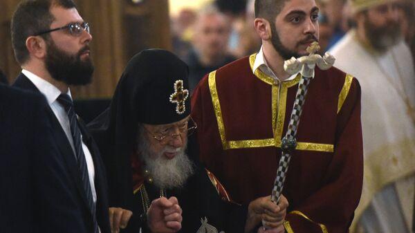 Католикос - патриарх всея Грузии Илия Второй во время праздничной пасхальной службы в кафедральном соборе Святой Троицы в Тбилиси. 8 апреля 2018