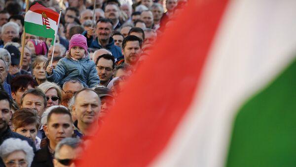 Сторонники партии Фидес премьер-министра Виктора Орбана в Секешфехерваре, Венгрия. Архивное фото