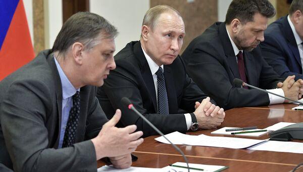 Президент РФ Владимир Путин на заседании президиума РАН и учёного совета НИЦ Курчатовский институт. 10 апреля 2018