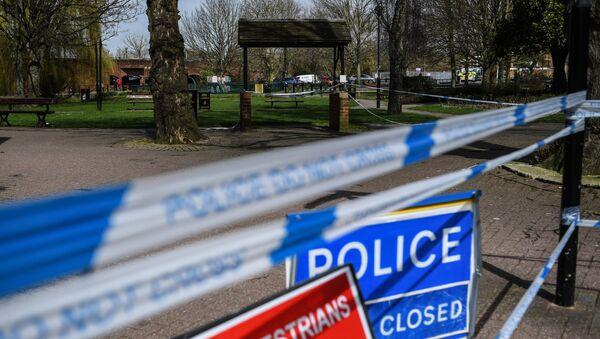Ограждения, выставленные полицией города Солсбери, у входа в парк, где на скамейке были обнаружены Сергей Скрипаль и его дочь Юлия. Архивное фото