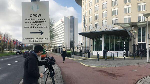 Журналисты у главного здания Технического секретариата ОЗХО в Гааге, Нидерланды. Архивное фото