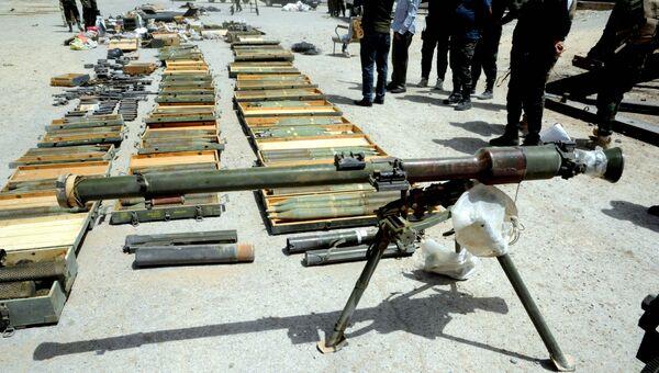 Склад оружия и боеприпасов боевиков, обнаруженный сирийскими военными. 20 апреля 2018