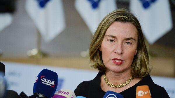 Федерика Могерини на конференции Поддержка будущего Сирии и региона в Брюсселе. 25 апреля 2018
