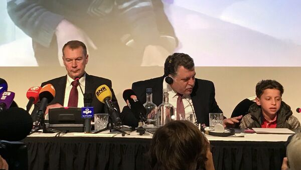 Брифинг представителей РФ и свидетелей химатаки в Сирии в ОЗХО в Гааге. Архивное фото