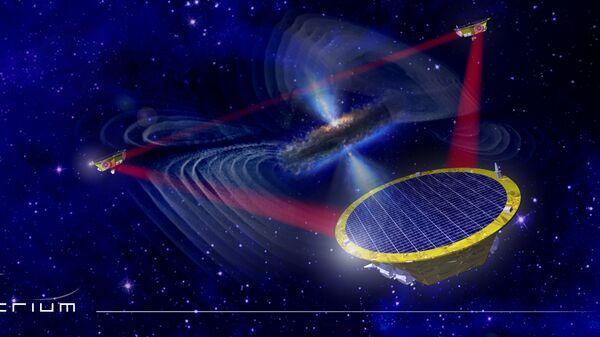 Так художник представил себе гравитационную обсерваторию LISA и сверхмассивную черную дыру