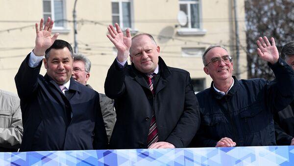 Во время демонстрации в честь Праздника Весны и Труда в Тверской области. 1 мая 2018