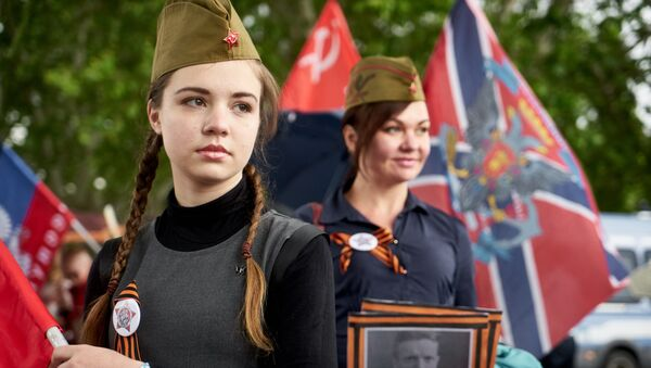 Участницы акции Бессмертный полк в Риме.  5 мая 2018