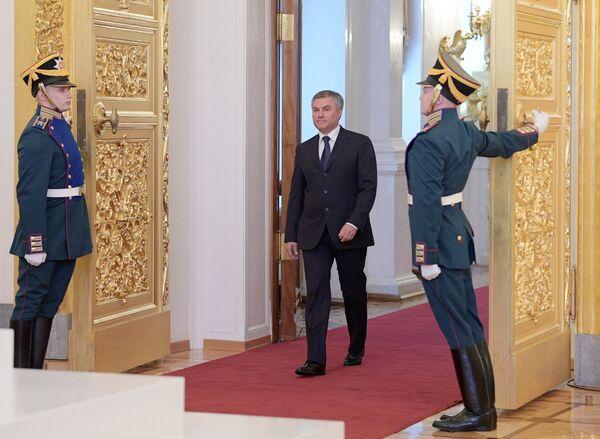 Председатель Государственной Думы РФ Вячеслав Володин на церемонии инаугурации президента РФ Владимира Путина в Кремле