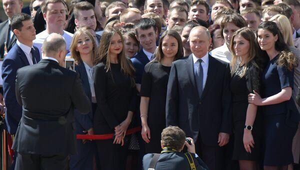 Президент РФ Владимир Путин после церемонии инаугурации на Соборной площади Московского Кремля. 7 мая 2018