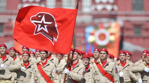 Парадный расчет Юнармии на военном параде, посвященном 73-й годовщине Победы в Великой Отечественной войне 1941-1945 годов