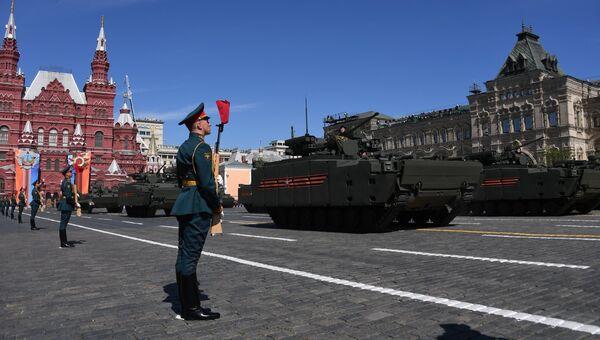 Боевые машины пехоты (БМП) на гусеничной платформе Курганец-25 на военном параде, посвященном 73-й годовщине Победы в ВОВ