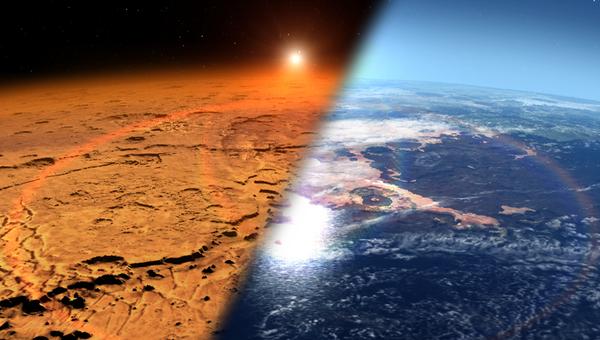Марс сегодня (слева), так Марс мог выглядеть раньше (справа)