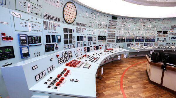 Блочный пульт управления Кольской атомной электростанции в Полярнозоринском районе Мурманской области