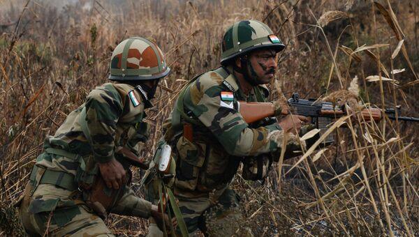 Военнослужащие специального подразделения Вооруженных Сил Индии на этапе первых межвидовых российско-индийских учений Индра-2017