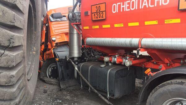 ДТП с участием БелАЗа и КамАЗа в Киселевске на технологической дороге угольного предприятия, Кемерово. 21 мая 2018