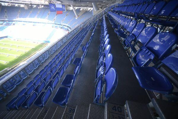 Трибуны стадиона Санкт-Петербург, где пройдут матчи чемпионата мира по футболу 2018