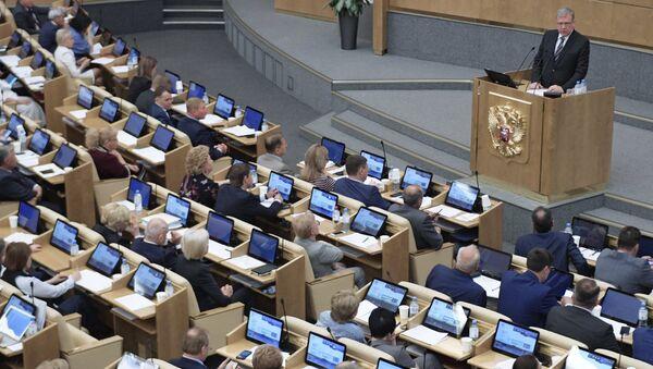 Кандидат на пост председателя Счетной палаты Алексей Кудрин на пленарном заседание Государственной думы РФ. 22 мая 2018