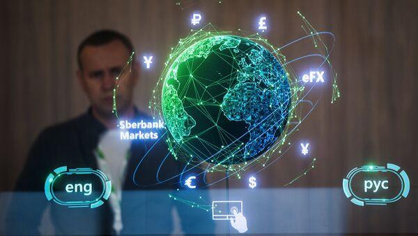 Павильон Сбербанка в конгрессно-выставочном центре Экспофорум накануне открытия Санкт-Петербургского международного экономического форума
