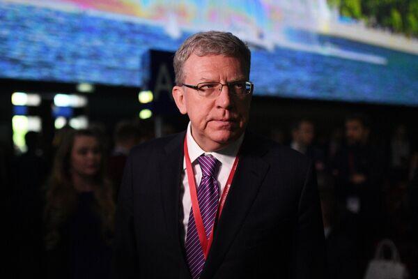 Глава Счетной палаты РФ, председатель совета фонда Центр стратегических разработок Алексей Кудрин на Петербургском международном экономическом форуме. 25 мая 2018
