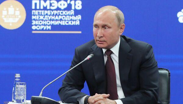 Президент РФ Владимир Путин на Петербургском международном экономическом форуме. 25 мая 2018