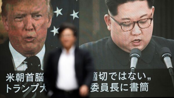 Портреты президента США Дональда Трампа и лидера КНДР Ким Чен Ына. Архивное фото