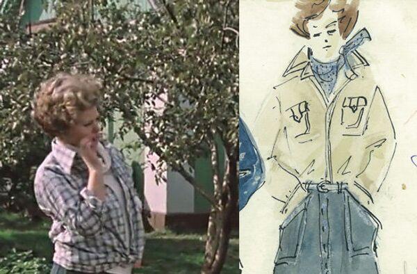 Кадр из фильма Москва слезам не верит и эскиз Ж. Мелконян