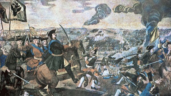 Полтавская баталия. (Северная война 1700-1721 гг.). Мозаика Михаила Ломоносова