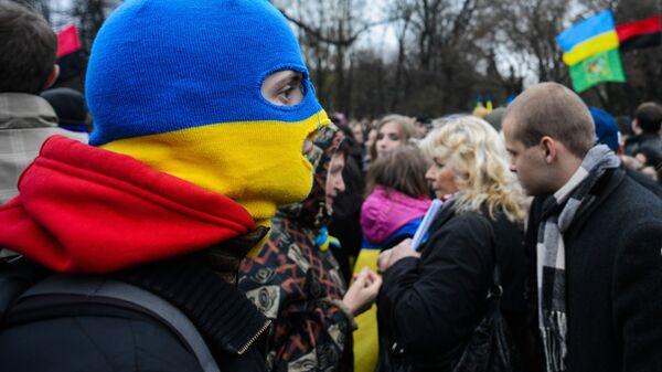 Участники митинга в поддержку Евромайдана в Харькове. Архивное фото