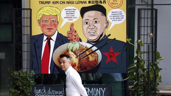 Реклама одного из ресторанов Сингапура в преддверии саммита глав КНДР и США