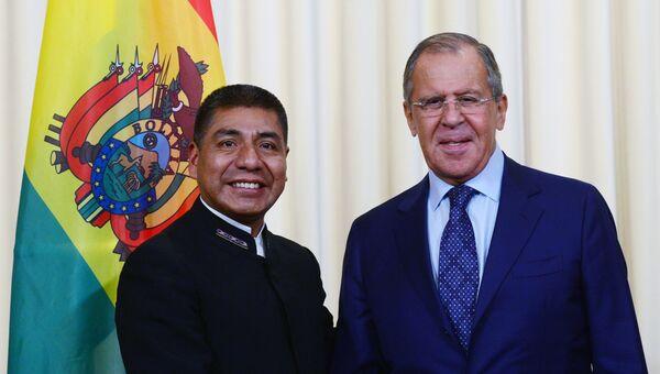 Министр иностранных дел РФ Сергей Лавров и глава МИД Боливии Фернандо Уанакуни Мамани