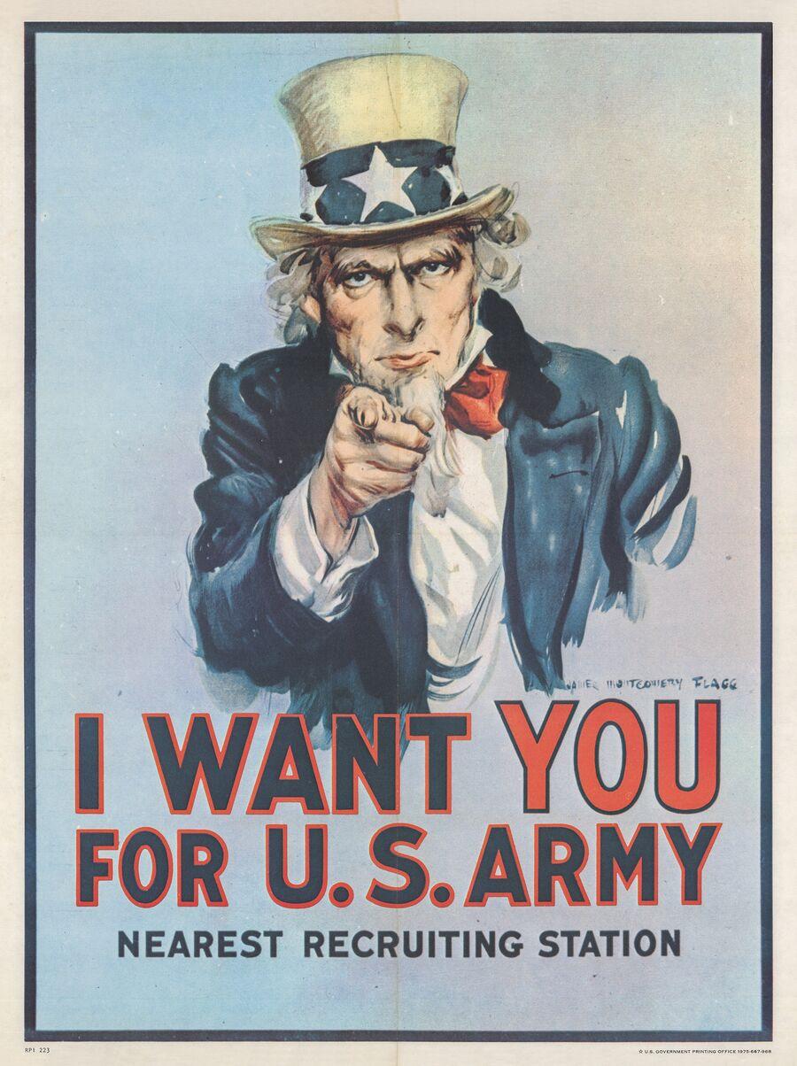 Американский агитационный плакат времен Первой мировой войны