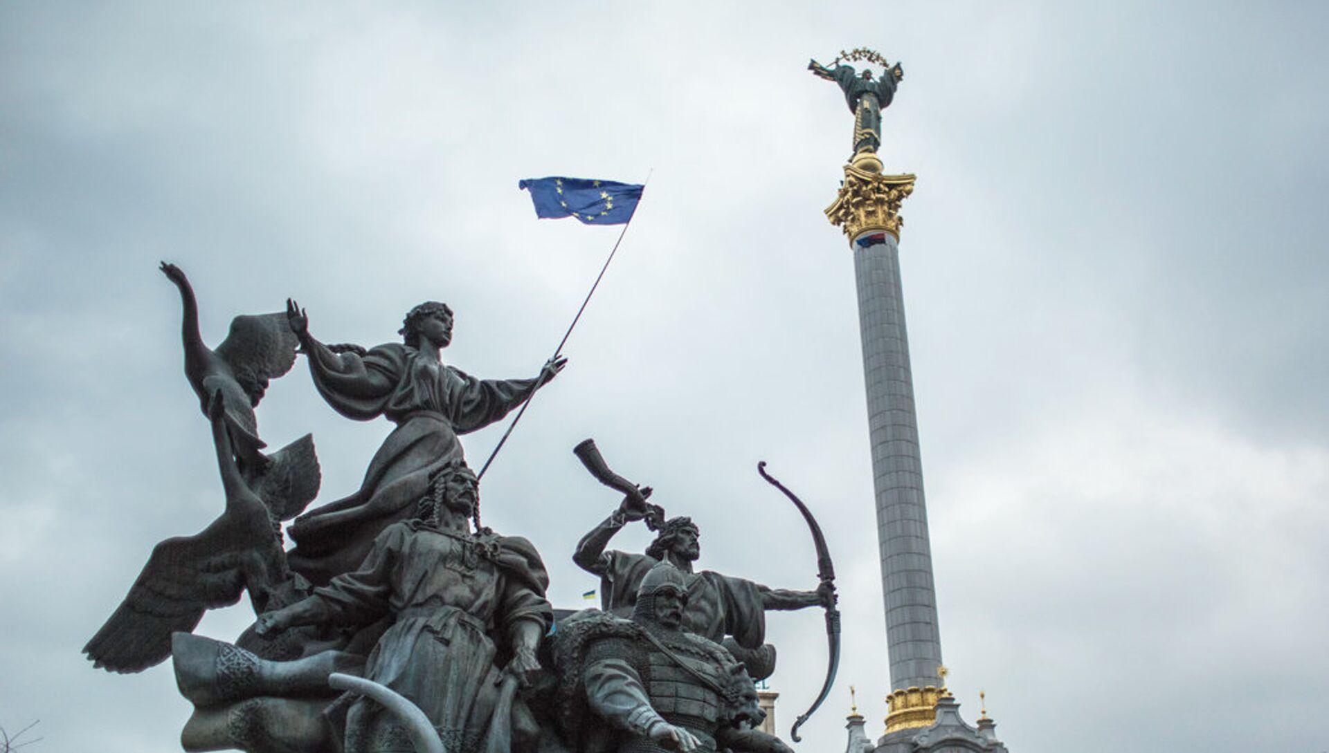 Флаг ЕС на площади Независимости в Киеве - РИА Новости, 1920, 05.07.2021