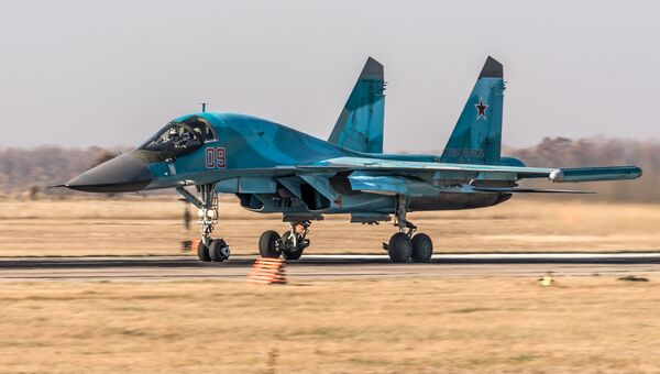 Истребитель-бомбардировщик Су-34 на аэродроме Бутурлиновка (Воронежская область)