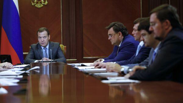 Председатель правительства РФ Дмитрий Медведев проводит совещание о мерах по развитию экономики и социальной сферы. 26 июня 2018