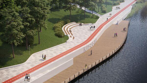 Визуализация проекта благоустройства набережной Клязьмы в городе Щелково