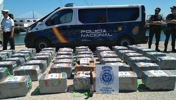 Кокаин весом 1500 килограммов, изъятый Испанской полицией. 3 июля 2018