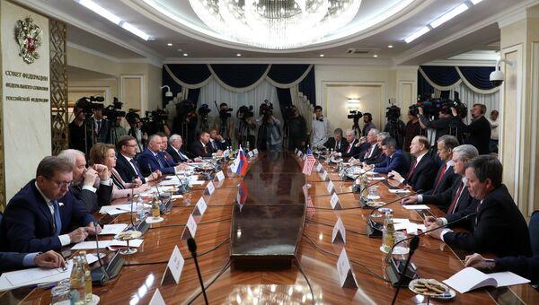 Встреча членов Совета Федерации РФ с делегацией Конгресса США. 3 июля 2018