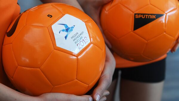 Мячи с символикой премии Медиа-Менеджер России-2018 и международного информационного агентства и радио Sputnik