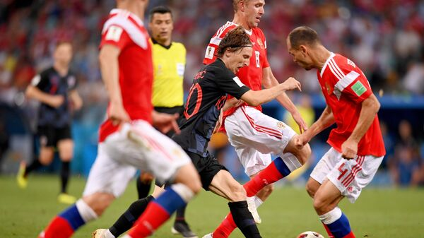 1/4 финала чемпионата мира по футболу между сборными России и Хорватии
