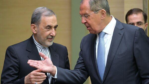 Сергей Лавров и старший советник верховного руководителя Исламской Республики Иран по международным вопросам Али Акбар Велаяти. 12 июля 2018