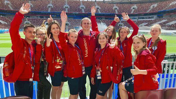 Волонтеры ЧМ-2018 на стадионе Лужники подводят итоги