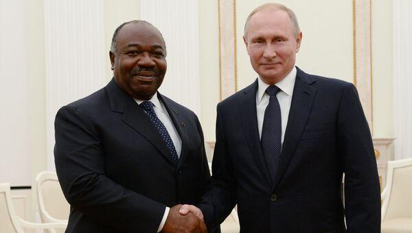 Президент РФ Владимир Путин и президент Габона Али бен Бонго Ондимба во время встречи. 14 июля 2018