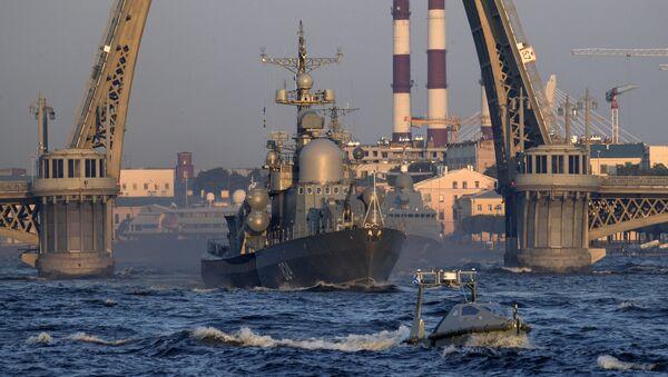 Малый ракетный корабль Серпухов на репетиции парада в честь Дня Военно-морского флота в акватории Невы в Санкт-Петербурге. Архивное фото