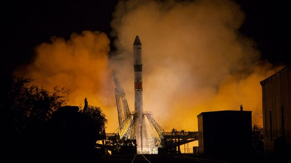 Пуск ракеты-носителя Союз-2.1А с транспортным грузовым кораблем Прогресс МС-09 к Международной космической станции со стартовой площадки космодрома Байконур
