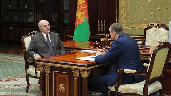 Президент Белоруссии Александр Лукашенко и Председатель Минского облисполкома Анатолий Исаченко. 31 июля 2018