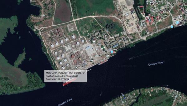Местоположение российского судна Механик Погодин в порту Херсона, Украина