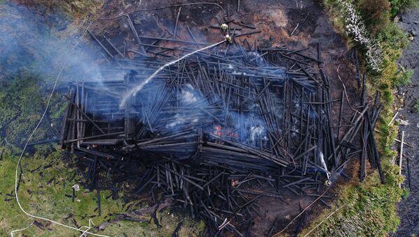 Сгоревшая церковь Успения Божией Матери в Кондопоге