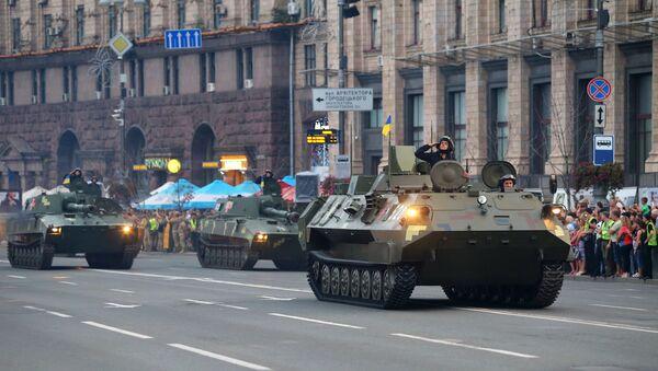 Военнослужащие на репетиции военного парада в честь 27-ой годовщины Независимости Украины в центре Киева. Архивное фото