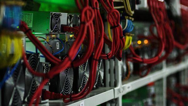 Стеллажи с фермами для майнинга криптовалют на открытии в Ленинградской области центра майнинга криптовалюты энергомощностью 20 мВт