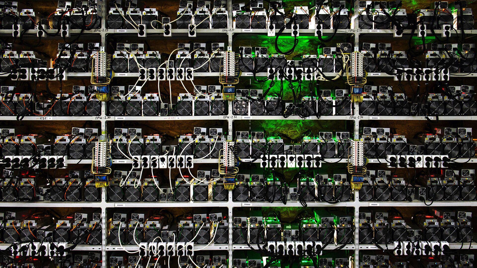 Стеллажи с фермами для майнинга криптовалют на открытии в Ленинградской области центра майнинга криптовалюты энергомощностью 20 мВт - РИА Новости, 1920, 28.11.2020